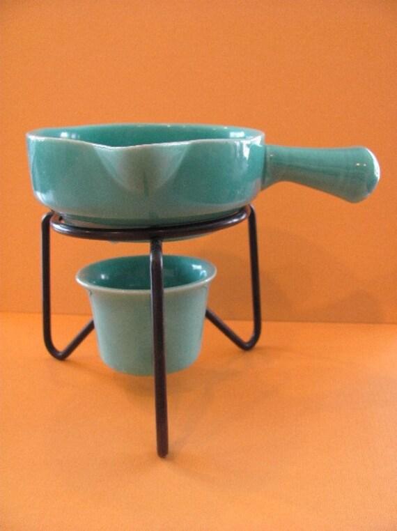 vintage turquoise ceramic butter melter set with original tag