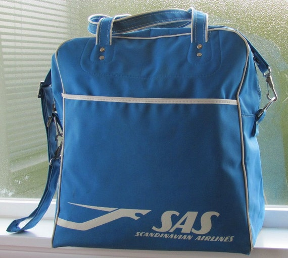 vintage flight bag scandinavian airlines 60s 70s retro luggage carry on blue tote advertising logo