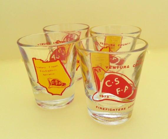 vintage shot glasses ventura county firefighters association fireman fire department barware 70s