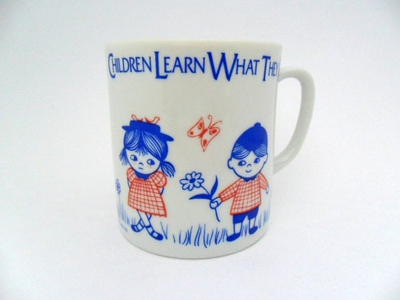 vintage childrens inspirational mug with quote teachers cup educators