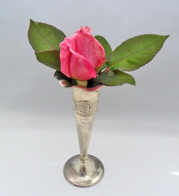 vintage vase silver plated occupied japan fluted flower vase 40s