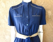 Navy with Tan Piping Belted Dress