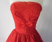 1950s Cherry Red Full Skirt Cupcake Strapless Sweatheart Dress Bombshell Gown