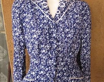SALE   1980s Karin Stevens Floral Secretary Dress