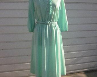 Lady Carol Mint Crystal Pleated Ruffle Dress