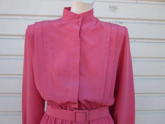 Vintage Mauve Pleated Secretary Dress