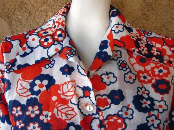 INVENTORY REDUCTION SALE Orange blue white flower  Blouse