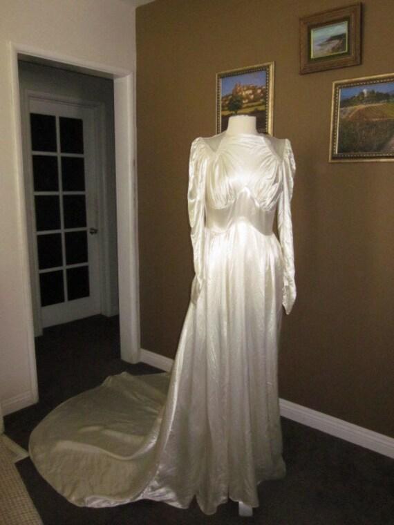 RESERVED     1940s Ivory Satin Wedding Dress