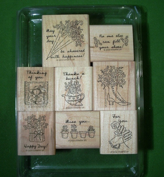 Stampin Up 'Girl Talk' Rubber Stamps with Girly Shoes, Garden Flowers, Frilly Umbrella, Teapot, Lace Gloves