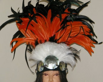 TAHITIAN Feather & Mother of Pearl Headdress