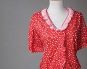 C L E A R A N C E .................... Vintage Red Polka Dots  Ruffed Blouse ( size M-L )