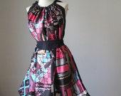 Romantic Dreamy Soft Silk    Flowy Delicate Contempoary  Print  ,Purple Dress Tunic