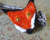 Upcycled Cashmere Felt Fox  Pin