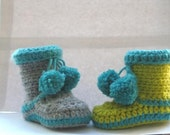 Boots for Boys Crochet Baby Booties (pdf  crochet pattern)- 4 sizes