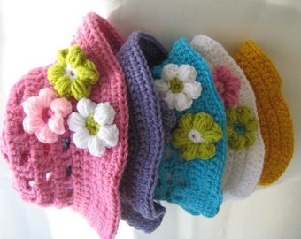 Crochet Hat Pattern, Crochet Baby Hat Pattern,  Crochet Baby Sun Hat Pattern,   Baby to 10 Years