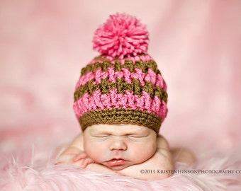 Crochet Pattern Hat , Newborn Baby to Adult,  Boy and Girl, Pdf Crochet Beanie Hat  Pattern - Pom Pom Hat
