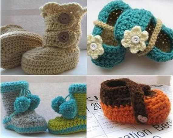 Crochet Pattern Booties ,Any 2 Crochet Patterns for  7.99