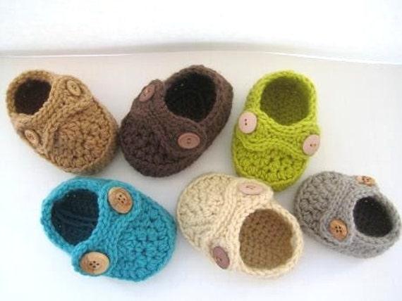 Crochet Booties Pattern ( pdf pattern), Boy's Striders-4 size