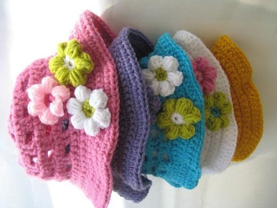 Crochet Pattern Baby Sun  Hat , Baby to 10 Years ( pdf pattern)