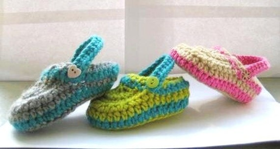 Crochet Baby Booties Pattern( pdf pattern for sale),  Crochet Baby Slippers for Boys or Girls