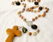 Wooden cross rosary with jasper beads