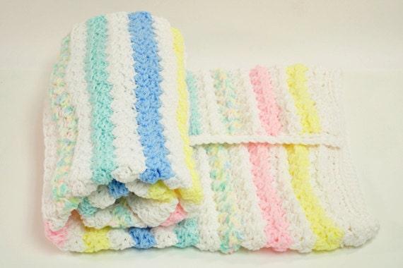 "Baby's First Blanket -- Crocheted Pastels Girl or Boy Baby Blanket -- Gender Neutral 31""x36"""
