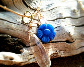 faceted gold rutilated quartz pendant on 18 inch gold filled satellite bead chain with rose quartz bead and carved blue jade flower bead