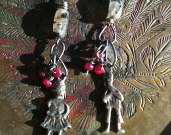 vintage pewter milagro earrings with ruby and rutilated quartz