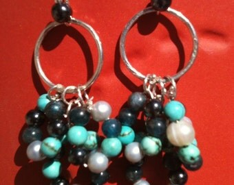 sterling silver dangle earrings with apatite, hematite, freshwater pearl and turquoise