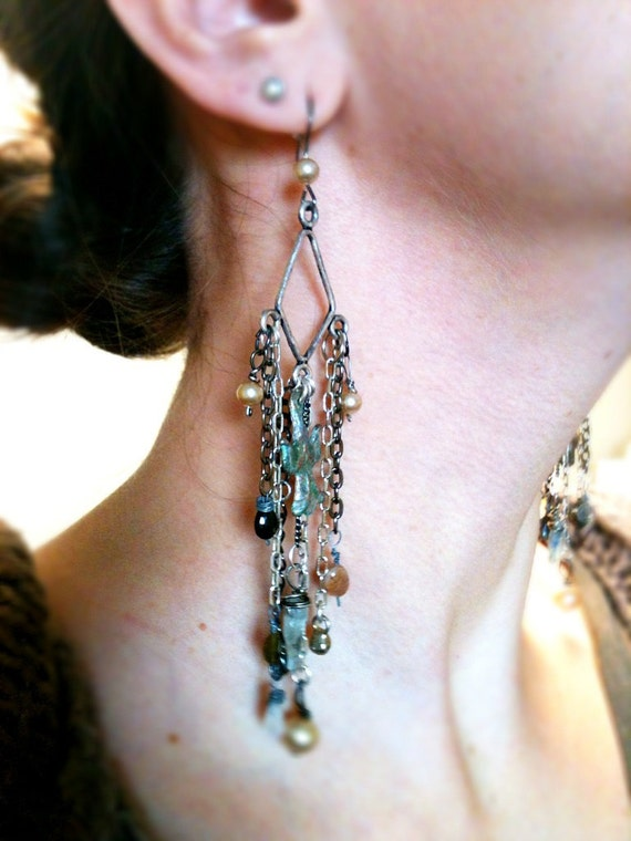 long dangly milagro earrings with labradorite, moonstone, tourmaline and vintage glass pearls.