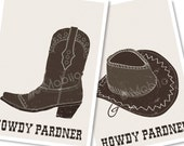 Cowboy hat and boot howdy pardner postcards with envelopes set of 2