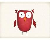 DIGITALowl illustration-postcard sized instant download of original illustration