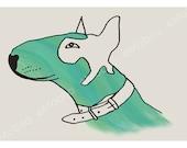DIGITAL Bullterrier illustration-postcard sized instant download-SUPPORT the Soi Dog Foundation