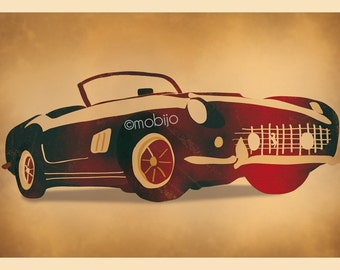 DIGITAL Quirky car-vintage car illustrations-set of 5-instant download-digital file