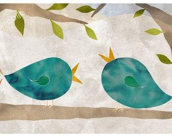 DIGITAL Ink collage-birds in love-instant download of original illustration