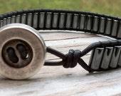 Men's Leather Wrap Hematite Bracelet