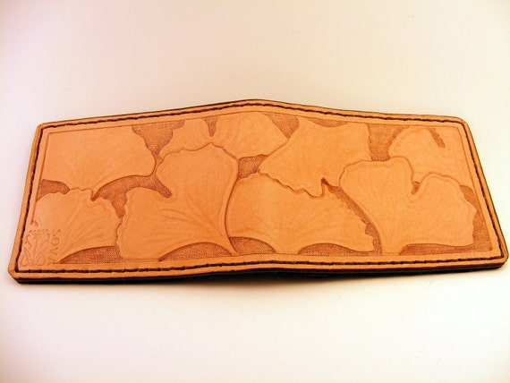 Hand Tooled Ginkgo Leaves Leather Wallet
