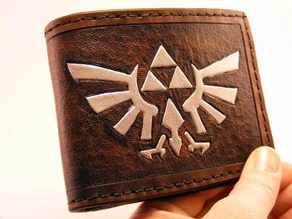 Zelda Hyrule Crest Hand Tooled Leather Wallet