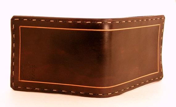 Cordovan Harlequin Stitched Wallet - Chocolate Brown