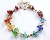 Sea Glass Rainbow Bracelet, Made with Rare West Coast Seaglass