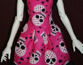 SD16 or Supergem Pink Heart Skulls Dress