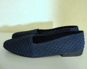 Vintage Shoes (Unique, Thrifted Textured Blue Flats, US Size 9)