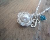Something Blue Pearl Nest and Initial Necklace