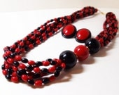 Avon Red And Black Beaded Necklace- 2 Piece Set- Earrings-Multistrand- Vintage Plastic- 1980