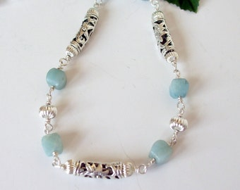 Necklace- Earrings- Amazonite- Necklace Set-  Wire Wrapped- Bali Silver- 2 Piece Set- Handmade Jewelry