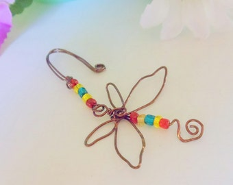 Whimsical Dragonfly Pot Sitter Wire Ornament (Pot Charm) Wire Wrapped Handmade by simplysuzie2