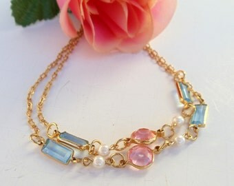Long Gold Chain  Pearls Faceted Pink Blue Glass 30 Inches