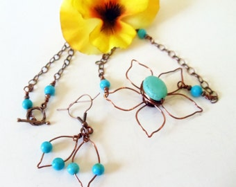 Turquoise Necklace-  Wire Wrapped Necklace -Copper Necklace- Daisy Necklace- Daisy Pendant- 2 Piece Necklace Set- Gemstone Necklace