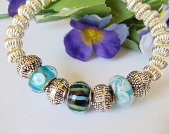 Bracelet- Lampwork- Bangle- Blue- Green- Silver- Handmade Jewelry