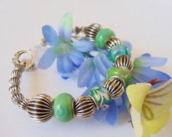 Lampwork Bangle- Bracelet- Blue- Green- Antiqued Silver-  Handmade Jewelry